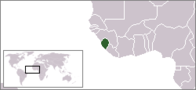 A map showing the location of Sierra Leone