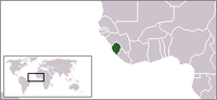 Map of West Africa with Sierra Leonrie highlighted