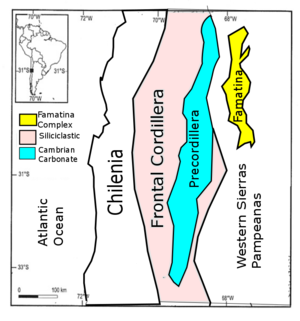 Geological history of the Precordillera terrane - Simplified map showing location of present Precordillera and surrounding geological complex