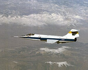 Wing loading - The Lockheed F-104 Starfighter has a high wing loading (723 kg/m2 at maximum weight.)