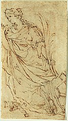 Design (?) for a statue (?) of St. Catharine of Alexandria