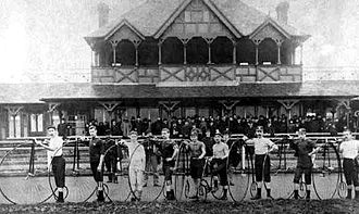 Derbyshire County Cricket Club in 1887 - Long Eaton Recreation Ground (being used for a cycle race in 1885)