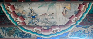 Lü Bu - An illustration of Lü Bu killing Ding Yuan (呂布弒丁原) in the Long Corridor of the Summer Palace, Beijing.