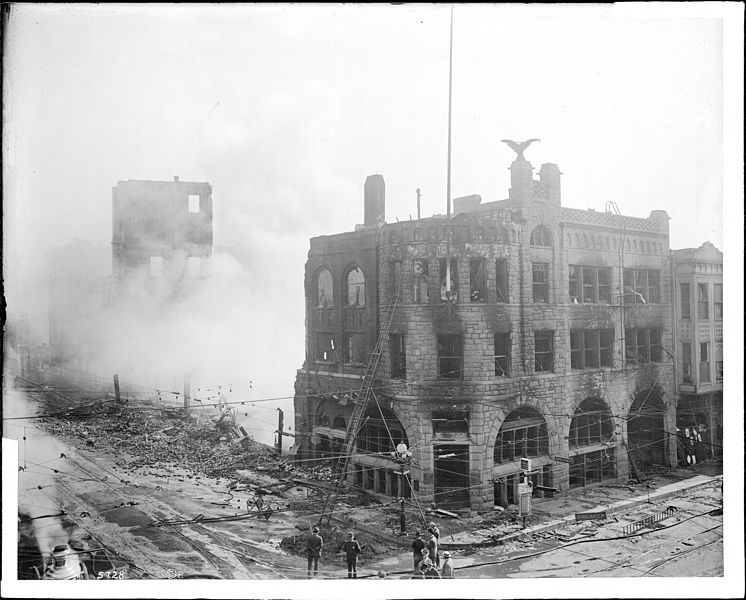 File:Los Angeles Times building, after the bombing disaster on October 1, 1910 (CHS-5728).jpg