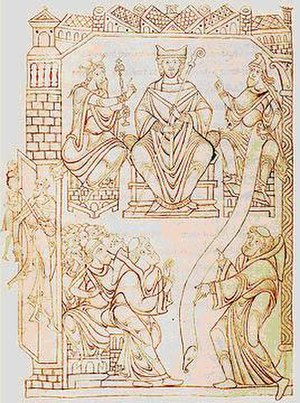 Lothair of France - Richard II of Normandy (right), with the Abbot of Mont Saint-Michel (middle) and Lothair (left).