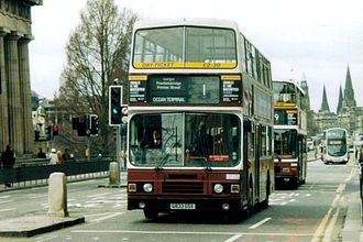 Lothian Buses - A now withdrawn Leyland Olympian in traditional madder and white livery on Princes Street in 2006