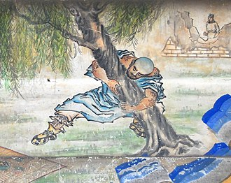 Water Margin - A 19th-century mural depicting Lu Zhishen uprooting a tree, a scene from the novel