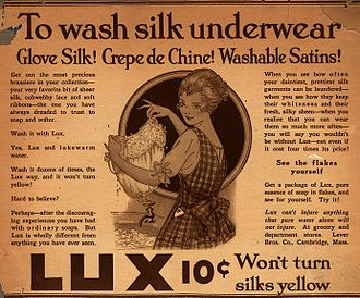 Positioning (marketing) - Lux, print advertisement (1916) positioned the soap as a gentle product for washing delicate clothing
