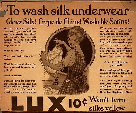 Lux, print advertisement, 1916, Lux was 'positioned' as the soap for all fine fabrics. Lux ad 1916.jpeg