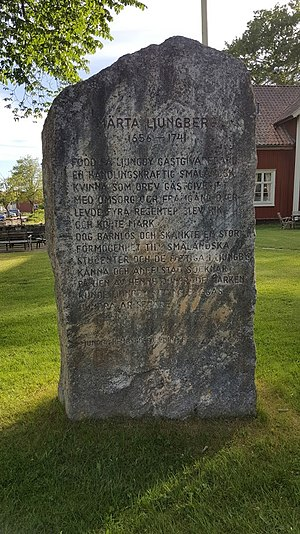 Märta Ljungberg - In 1981 a memorial stone was erected near her inn.