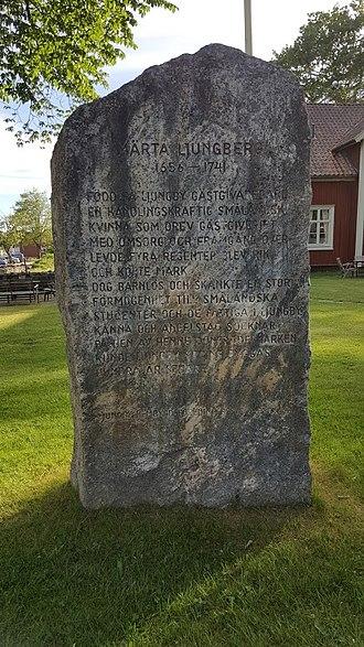 Märta Ljungberg - In 1981 a memorial stone was erected near her inn.