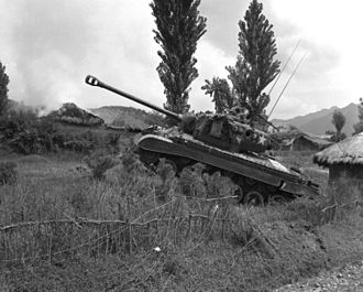 M26 Pershing - A Pershing tank of the U.S. Marine Corps during the Korean War in 1950.