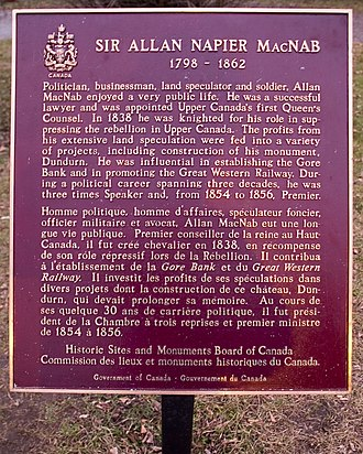 Allan MacNab - Plaque at Dundurn Castle.