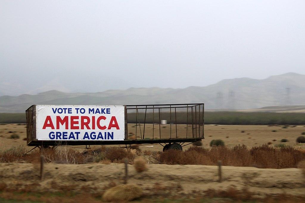 File:Make America Great Again outdoor banner on roadside in California.jpg  - Wikimedia Commons