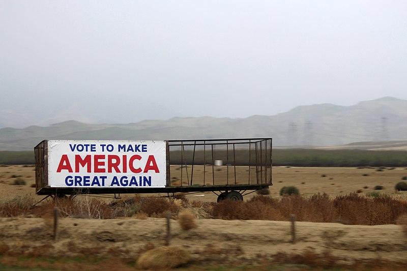Make America Great Again outdoor banner on roadside in California.jpg