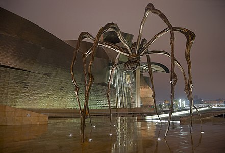 The spider sculpture Maman by Louise Bourgeois at the Guggenheim Museum in Bilbao, Basque Country, Spain