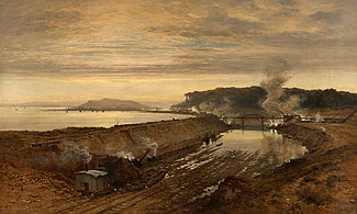 """The Making of Eastham Dock"" by Benjamin Williams Leader (1891)"