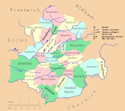 Map of the ancient parish of Manchester.