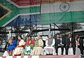 Manmohan Singh, the President of South Africa Mr. Thabo Mbeki and other dignitaries witnessing celebrations of 100th Anniversary of Mahatma Gandhi's Satyagraha at Kingsmead Stadium in Durban, South Africa on October 01, 2006.jpg