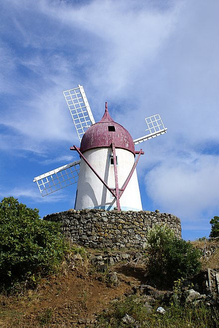 One of the Flemish-inspired windmills that still dot the landscape of the Azores (this on the island of Graciosa) Manuel Gaspar, moinho tipico, Santa Cruz da Graciosa, ilha Graciosa, Acores, Portugal.JPG