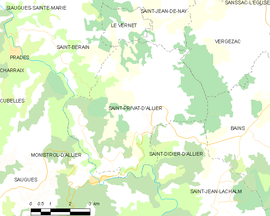 Mapa obce Saint-Privat-d'Allier