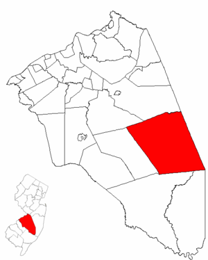 Woodland Township, New Jersey - Image: Map of Burlington County highlighting Woodland Township