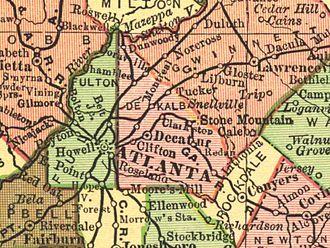 Tucker, Georgia - 1895 Map of DeKalb County, Georgia, including Tucker.