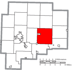 Location of Wills Township in Guernsey County