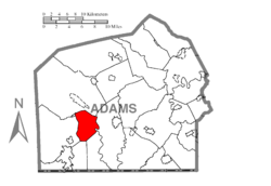 Map of Adams County, Pennsylvania highlighting Highland Township