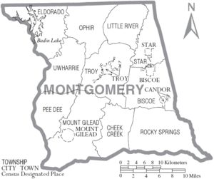 Montgomery County, North Carolina - Map of Montgomery County, North Carolina With Municipal and Township Labels