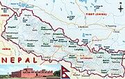 Map of Nepal showing location of Lumbini