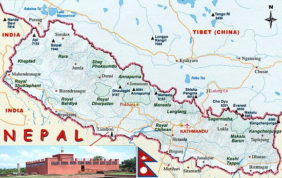 Px Map Of Nepal Showing Location Of Lumbini on Where Is Kathmandu Nepal On A Map