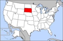 Kort over USA med South Dakota markeret