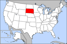 Map of the United States with South Dakota highlighted