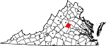 State map highlighting Fluvanna County