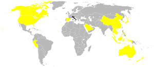 Inauguration of Benigno Aquino III - Countries in yellow attended by the head of state/government and colored in black attended by international organizations.