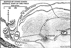 Battle of Cerro Gordo - Image: Map of the Cerro Gordo battle
