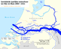 Map of the annual average discharge of Rhine and Maas 2000-2011 (NL).png