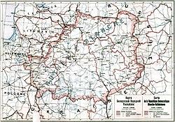 1918年领土,但其后之流亡政府所宣称的疆域已有所不同。