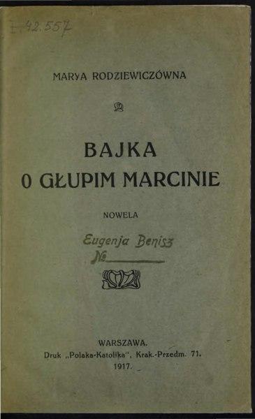 File:Maria Rodziewiczówna - Bajka o głupim Marcinie.djvu