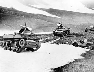 Marmon-Herrington - Two Marmon-Herrington CTLS US tanks maneuvering in a mountain pass in Alaska in 1942.