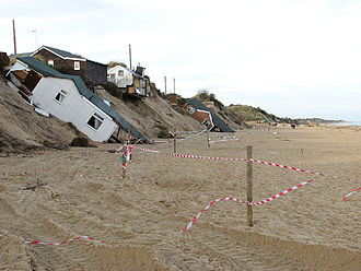 Cyclone Xaver - Homes undermined by the surge Hemsby Norfolk