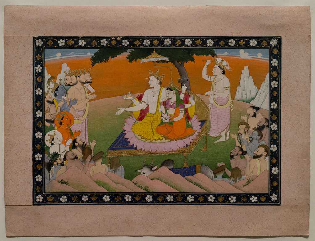 Marriage of Parvati and Shiva, Opaque watercolor and gold on paper, First half of 19th century.tiff