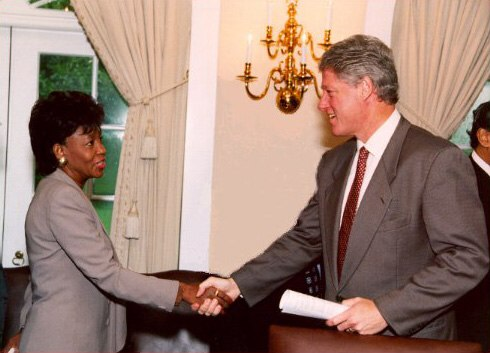 Maxine Waters and Bill Clinton