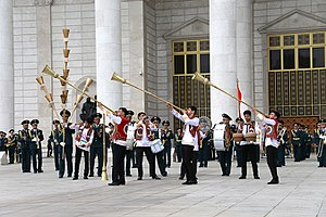 Karnay - Members of a Tajik Military Brass Band playing Karnays.
