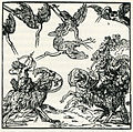 Members of the mythicla tribe of the Pyglimes kill cranes with arrows, mounted on rams, in accordance with Pliny's descr - Thevet André - 1556.jpg