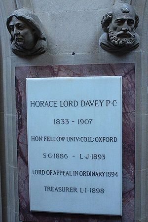 Horace Davey, Baron Davey - Memorial to Horace Davey, Lincoln's Inn Chapel