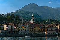 Menaggio harbor with flags from Lake Como ferry.jpg