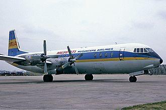Merpati Nusantara Airlines - A Merpati Nusantara Vickers Vanguard 953 in 1977