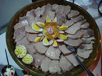 """Croatian cuisine - Meso z tiblice - pork from """"tiblitsa"""" wooden barrel from Međimurje County, northern Croatia"""